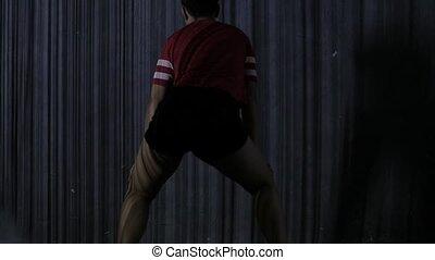 ombres, femme, body., danse, jeune, mouvement, lent, rayé, twerk.