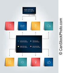 ombres, flowchart., coloré, scheme., infographics