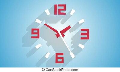 ombres, horloge, mur, moderne, long, animation