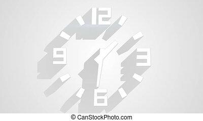 ombres, horloge, mur, timelapse, long, blanc, boucle