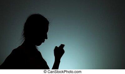 ombres, lumière, hommes, arrière-plan., silhouettes, woman., homme, femmes