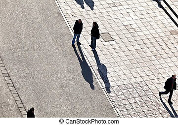 ombres, marche, rue, long, gens