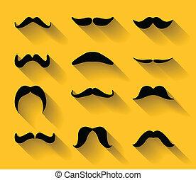 ombres, moustaches, ensemble, vecteur