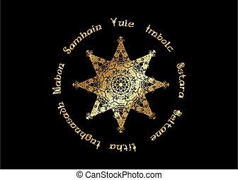 ombres, or, année, celtic., holidays., isolé, livre, paganisme, roue, compas, calendrier, huit-pointu, wicca., centre, wiccan, vecteur, moderne, symbole, étoile, noir, enchanté