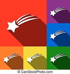 ombres, plat, ensemble, étoile, icônes, signe., bleu, orange, jaune, arrière-plan., vector., violet, vert, tir, rouges