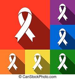 ombres, plat, ensemble, icônes, signe., ruban bleu, orange, jaune, noir, arrière-plan., vector., violet, vert, conscience, rouges