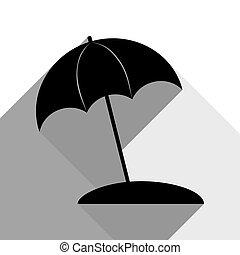 ombres, plat, parapluie, gris, soleil, signe., deux, arrière-plan., noir, vector., chaise longue, blanc, icône