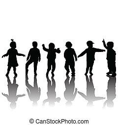 ombres, silhouettes, enfants