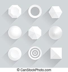 ombres, sommet, figures, géométrique, vue