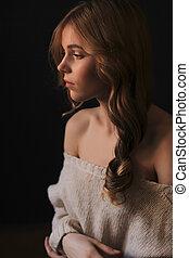 ombres, tendre, femme, jeune, portrait