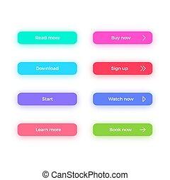 ombres, toile, page., couleur, set., boutons, clair, appeler, action, conception