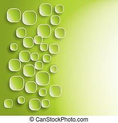 ombres, vert, carrés, arrondi, fond