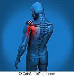 ombro, dor, figura, digital
