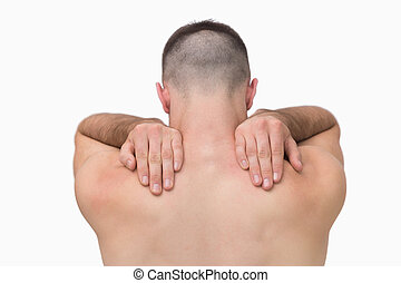 ombro, dor, shirtless, vista, parte traseira, homem
