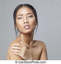ombro, mulher, beleza, skincare, tocar, asiático, pele