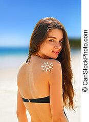 ombro, mulher, sol, biquíni, deslumbrante, retrato, desenhado, praia