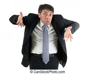 ombros encolhendo ombros, seu, ignorância, homem