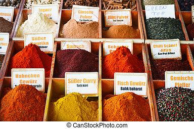 ombyte, av, kryddor, in, den, lager