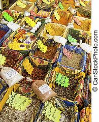 ombyte, av, kryddor, in, den, marknaden
