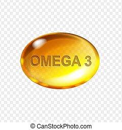 Omega 3 acid, yellow gelatin capsule. Vitamin drop gold pill realistic vector illustration.