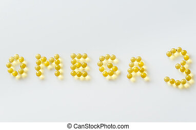 Omega-3 fish oil capsules on the white background
