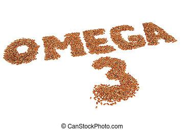 omega 3, geschrieben, in, flachs, samen, freigestellt, weiß,...