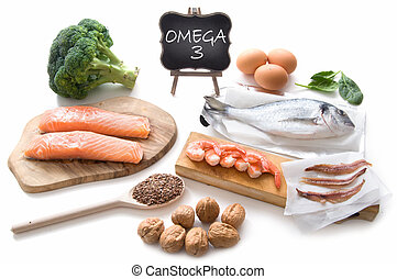 Collection of foods high in fatty acids omega 3 including seafood, vegetables and seeds