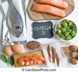 Omega 3 rich foods - Collection of foods high in fatty acids...