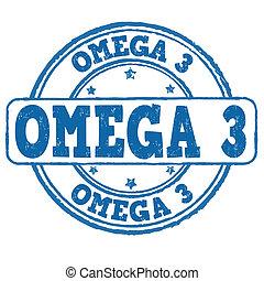Omega 3 stamp - Omega 3 grunge rubber stamp on white, vector...