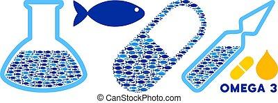 omega-3, supplemets, colagem, ilustração médica, vetorial, glassware, peixe