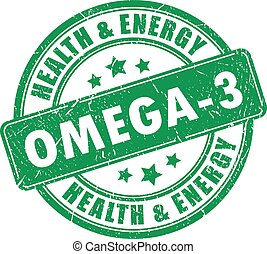 Omega 3 vector stamp on white background