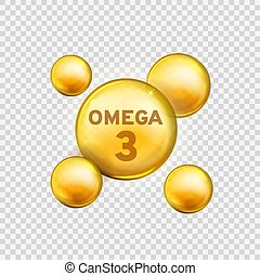 Omega 3. Vitamin drop, fish oil capsule, gold essence organic nutrition. Skin care advertising realistic vector product design