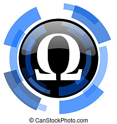 omega black blue glossy web icon