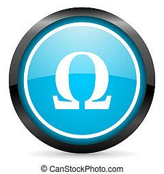 omega blue glossy circle icon on white background