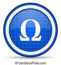 omega blue glossy icon on white background