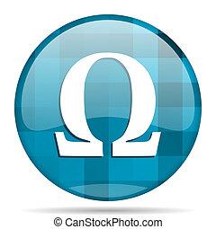 omega blue round modern design internet icon on white background