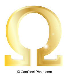 Omega- a letter from the Greek alphabet isolated over a...
