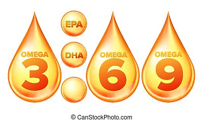 Omega Fatty Acid, EPA, DHA Vector Drops Set