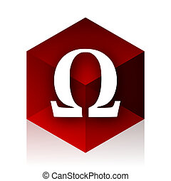 omega red cube 3d modern design icon on white background