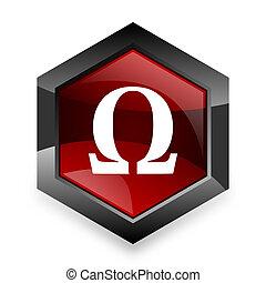 omega red hexagon 3d modern design icon on white background