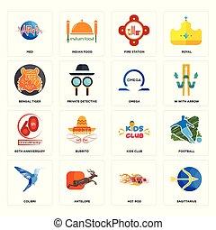 omega, set, colibri, verga, med, fuoco, sagittario, icone, club, bengala, caldo, bambini, tiger, stazione, anniversario, 60th