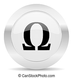 omega silver glossy web icon - silver white web glossy icon