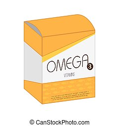 omega vitamin pill box medicine icon vector