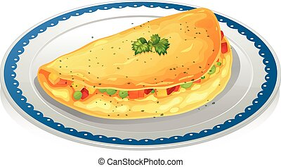 Illustration of a plate of omelet
