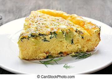 Omelet on white plate