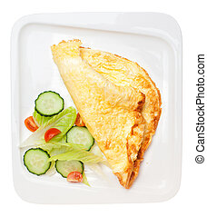 Omelet with vegetables isolated on white. Top view