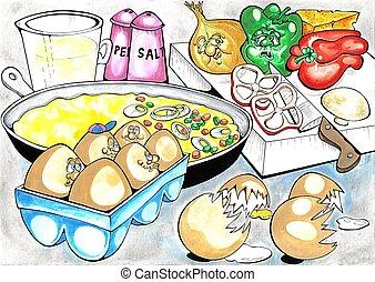 Omelette - omelette cooking