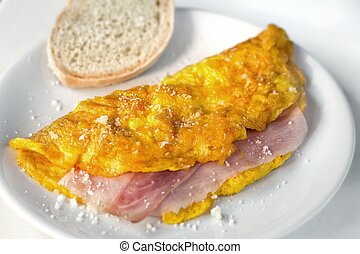 Omelette with ham and cheese