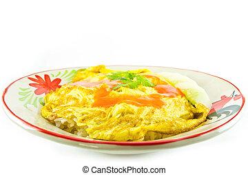 omelette on white background