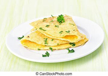 Omelette on white plate